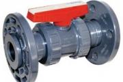 U-PVC Küresel Asit Vanası (Çift Taraf Flanş Bağlantılı - PTFE ve EPDM Contalı)
