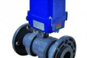 PVC-UH Elektrik Aktüatörlü Küresel Asit Vanası Y.M. Flanş Bağlantılı (110-260 V DC) Elle Acil Kumandalı
