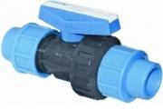 U-PVC Küresel Tek Taraflı Vana (Çift Taraf Kaplin Çıkışlı)