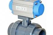 U-PVC Tek Etkili Pnömatik Aktüatörlü Küresel Asit Vanası(Çift Taraf İçten Dişli)